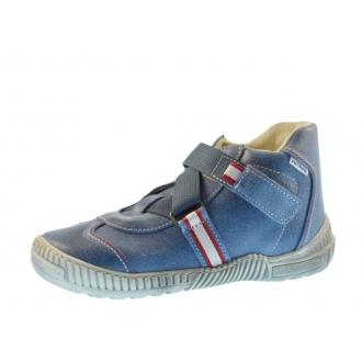 Dětské celoroční boty Pegres 1403 Modrá/Červená pruh
