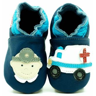 Kožené dětské capáčky ekoTuptusie Doktor na modré