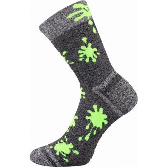 Hawkik Šedá/Lime VOXX dětské zimní ponožky