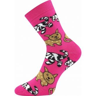 Sibiř Růžová/kočky VOXX teplé ponožky